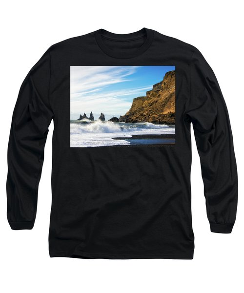 Long Sleeve T-Shirt featuring the photograph Vik Reynisdrangar Beach And Ocean Iceland by Matthias Hauser
