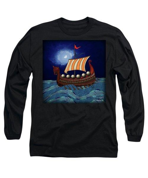 Long Sleeve T-Shirt featuring the digital art Viking Ship by Megan Dirsa-DuBois