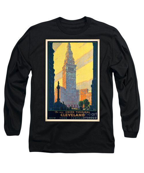 Vintage Cleveland Travel Poster Long Sleeve T-Shirt by George Pedro