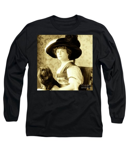 Long Sleeve T-Shirt featuring the photograph Vintage Lady With Lapdog by Marian Cates