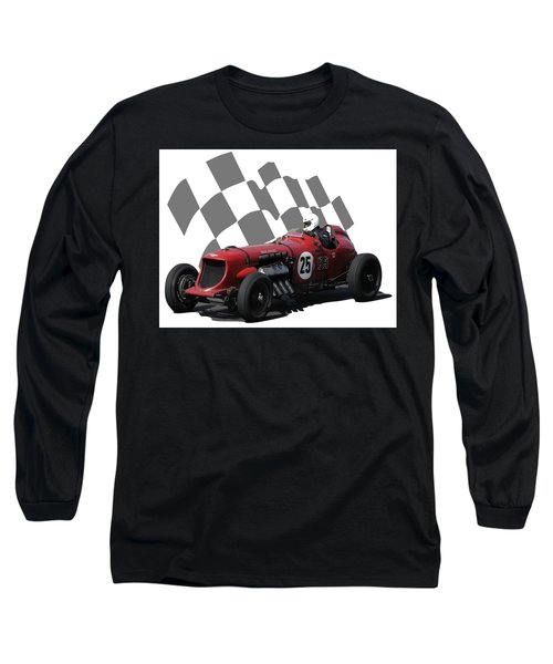 Long Sleeve T-Shirt featuring the photograph Vintage Racing Car And Flag 3 by John Colley