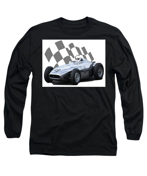 Long Sleeve T-Shirt featuring the photograph Vintage Racing Car And Flag 7 by John Colley