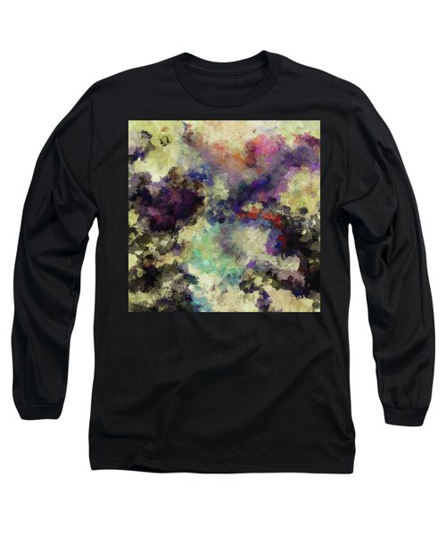 Violet Landscape Painting Long Sleeve T-Shirt by Ayse Deniz