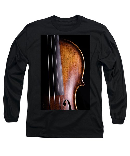 Violin Isolated On Black Long Sleeve T-Shirt