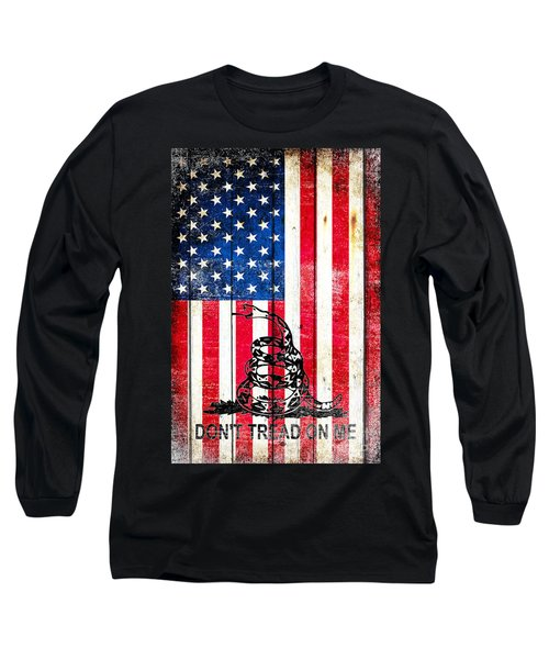 Viper On American Flag On Old Wood Planks Vertical Long Sleeve T-Shirt by M L C
