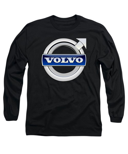 Volvo - 3d Badge On Black Long Sleeve T-Shirt by Serge Averbukh