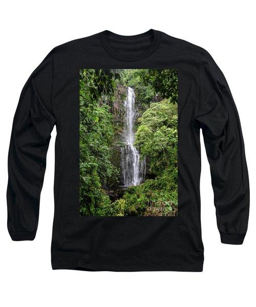 Wailua Falls On The Road To Hana, Maui, Hawaii Long Sleeve T-Shirt by Peter Dang