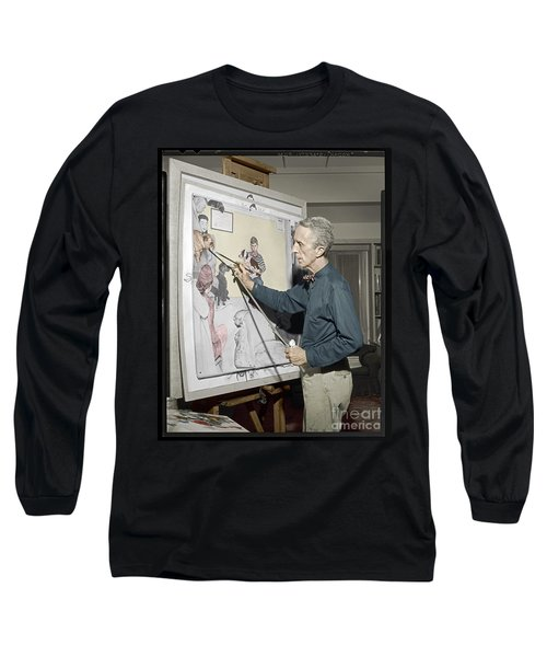 Long Sleeve T-Shirt featuring the photograph Waiting For The Vet Norman Rockwell by Martin Konopacki Restoration