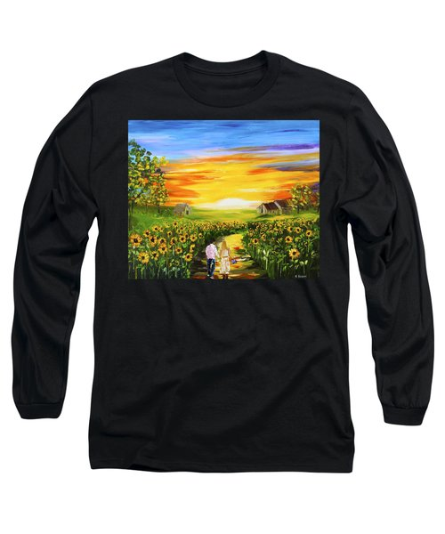 Walking Through The Sunflowers Long Sleeve T-Shirt