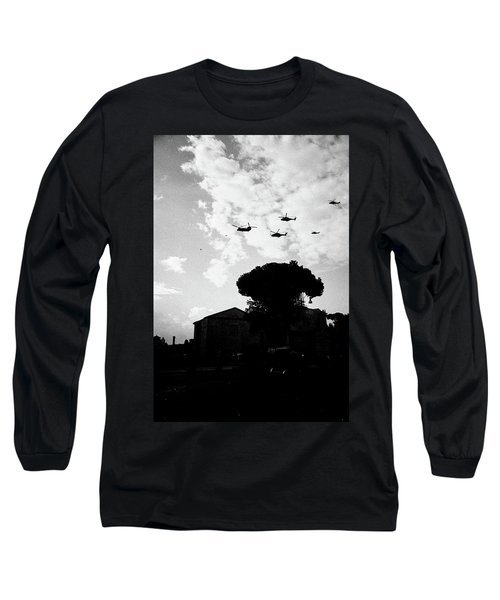 War Helicopters Over The Imperial Fora Long Sleeve T-Shirt