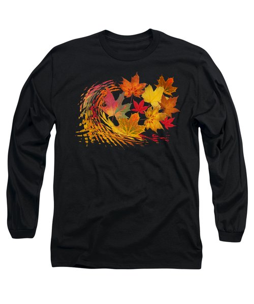 Warm Winds - Autumn Leaves Abstract Long Sleeve T-Shirt