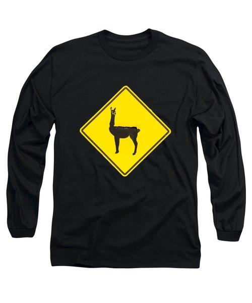 Warning Guanacos Long Sleeve T-Shirt by Mirko Chianucci