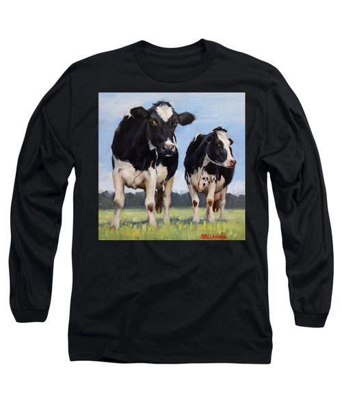 Watchful Cows Mini Painting  Long Sleeve T-Shirt