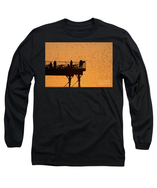 Watching The Sunset And Starlings In Aberystwyth Wales Long Sleeve T-Shirt