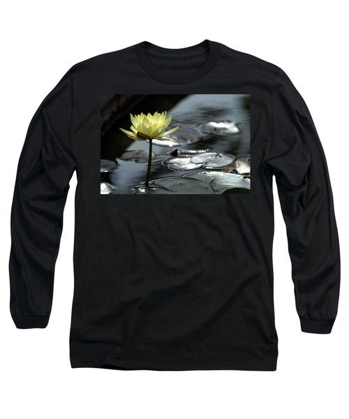 Water Lily And Silver Leaves Long Sleeve T-Shirt