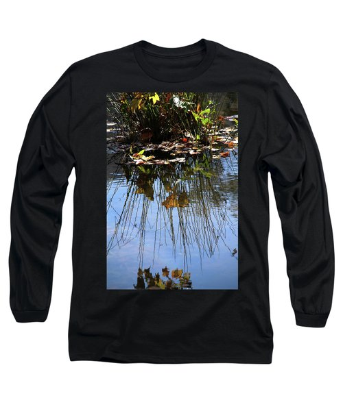 Long Sleeve T-Shirt featuring the photograph Water Reflection Of Plant Growing In A Stream by Emanuel Tanjala
