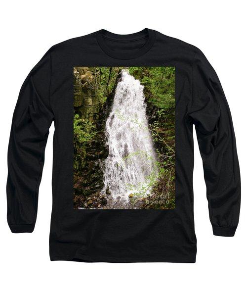 Water Roaring Down Cascade Falls, Farmington, Maine  -30377 Long Sleeve T-Shirt