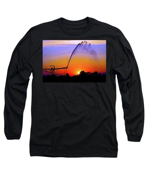 Watercolor Irrigation Sunset 3243 W_2 Long Sleeve T-Shirt
