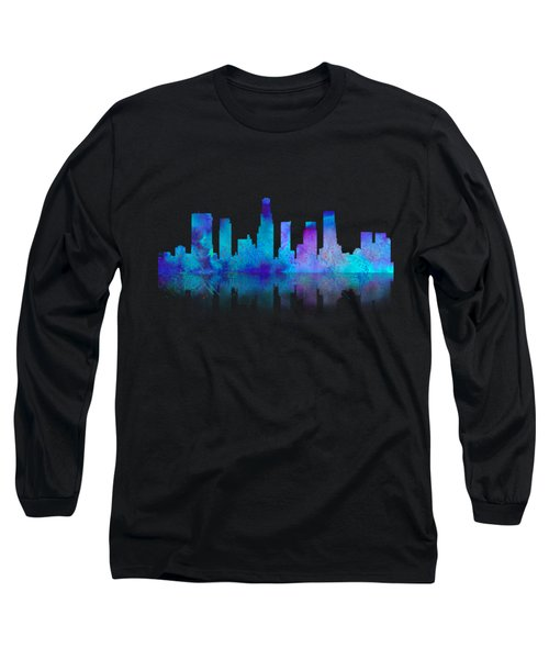 Watercolor Los Angeles Skylines On An Old Paper Long Sleeve T-Shirt
