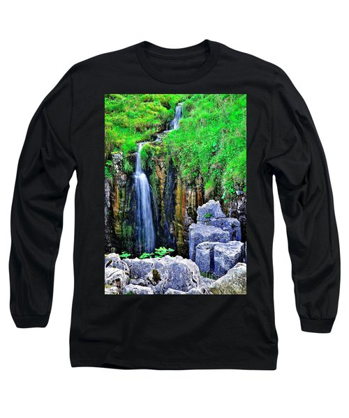 Waterfall At The Buttertubs, Swaledale Long Sleeve T-Shirt