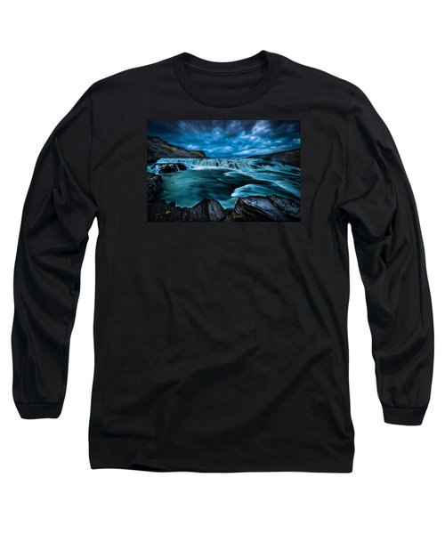 Long Sleeve T-Shirt featuring the photograph Waterfall Drama by Chris McKenna