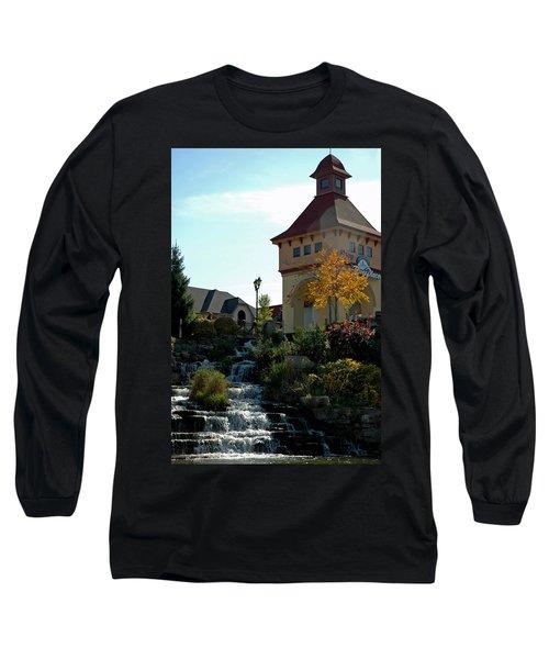 Long Sleeve T-Shirt featuring the photograph Waterfall Frankenmuth Mich by LeeAnn McLaneGoetz McLaneGoetzStudioLLCcom