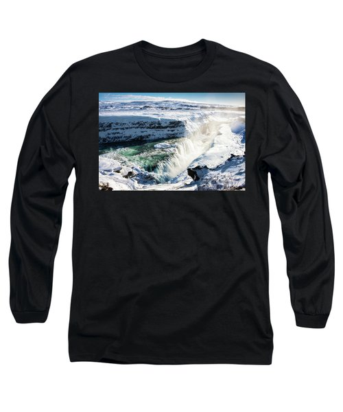 Long Sleeve T-Shirt featuring the photograph Waterfall Gullfoss Iceland In Winter by Matthias Hauser