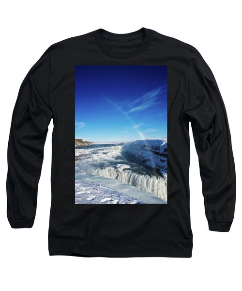 Long Sleeve T-Shirt featuring the photograph Waterfall Gullfoss In Winter Iceland Europe by Matthias Hauser