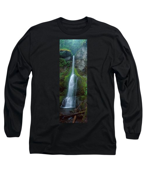 Waterfall In Olympic National Rainforest Long Sleeve T-Shirt