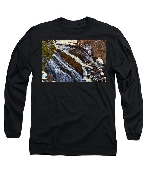 Waterfall In Yellowstone Long Sleeve T-Shirt by C Sitton
