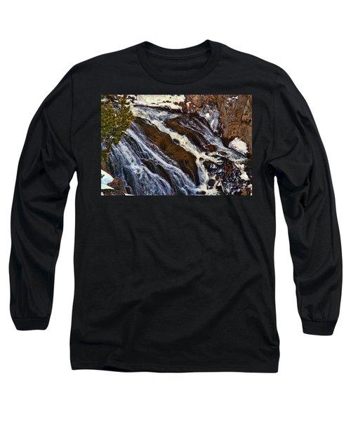 Waterfall In Yellowstone Long Sleeve T-Shirt