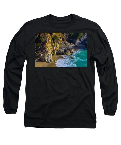 Waterfall Pouring Into The Ocean Long Sleeve T-Shirt