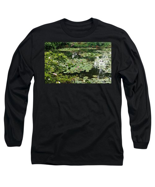 Long Sleeve T-Shirt featuring the photograph Waterlilies At Monet's Gardens Giverny by Therese Alcorn
