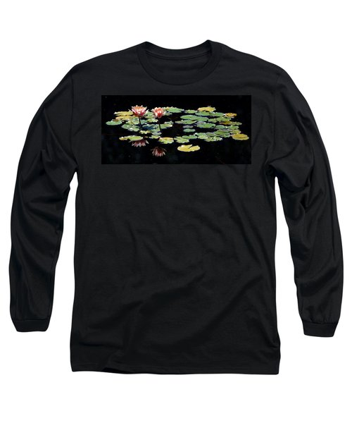 Long Sleeve T-Shirt featuring the painting Waterlily Panorama by Marilyn Smith