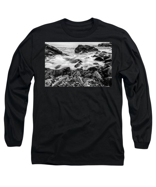 Waves Against A Rocky Shore In Bw Long Sleeve T-Shirt