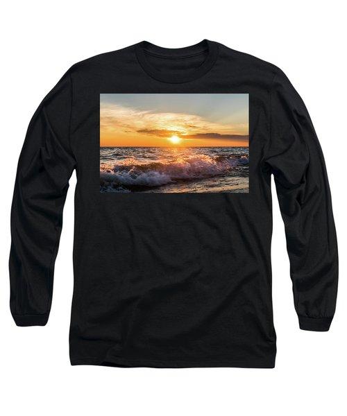 Waves Crashing With Suset Long Sleeve T-Shirt