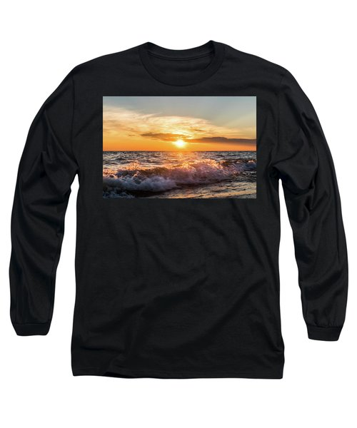 Waves Crashing With Suset Long Sleeve T-Shirt