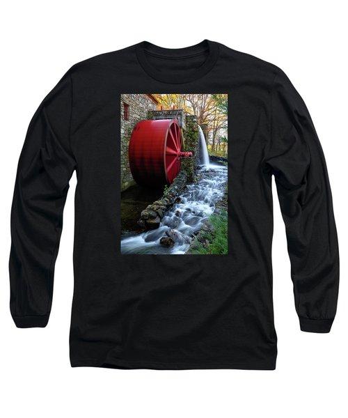 Wayside Inn Grist Mill Water Wheel Long Sleeve T-Shirt by Betty Denise