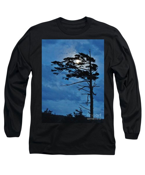 Weathered Moon Tree Long Sleeve T-Shirt by Michele Penner