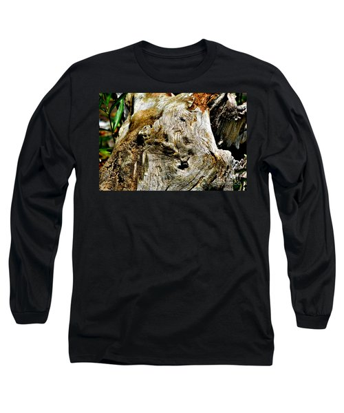 Weathered Wood Long Sleeve T-Shirt by Debbie Portwood