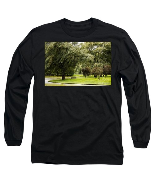 Weeping Willow Trees On Windy Day Long Sleeve T-Shirt by Carol F Austin