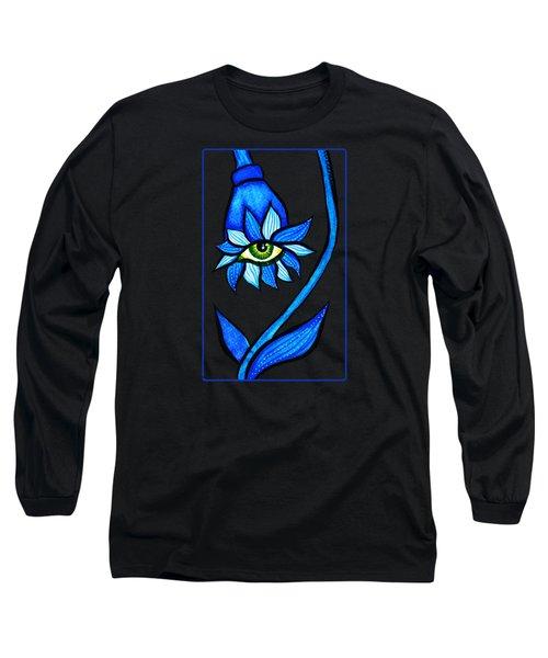 Weird Blue Staring Creepy Eye Flower Long Sleeve T-Shirt
