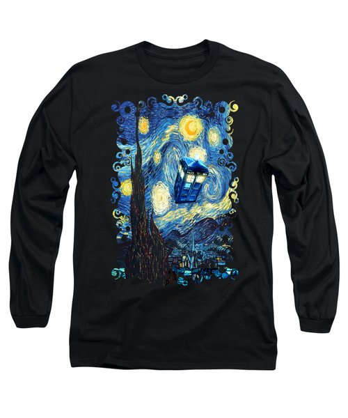 Weird Flying Phone Booth Starry The Night Long Sleeve T-Shirt by Three Second