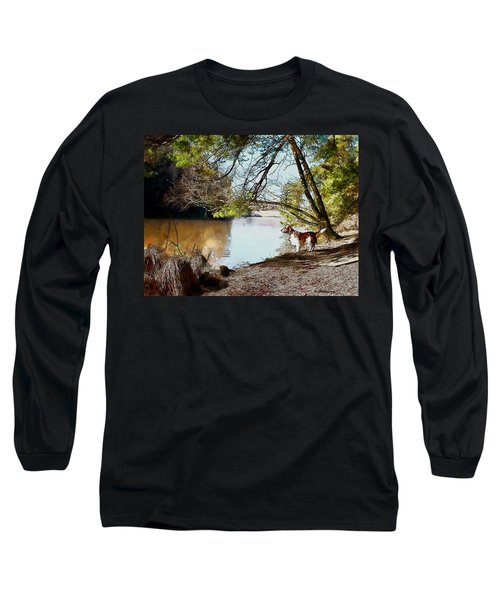 Long Sleeve T-Shirt featuring the painting Welsh Springer Spaniel By The River by Kai Saarto