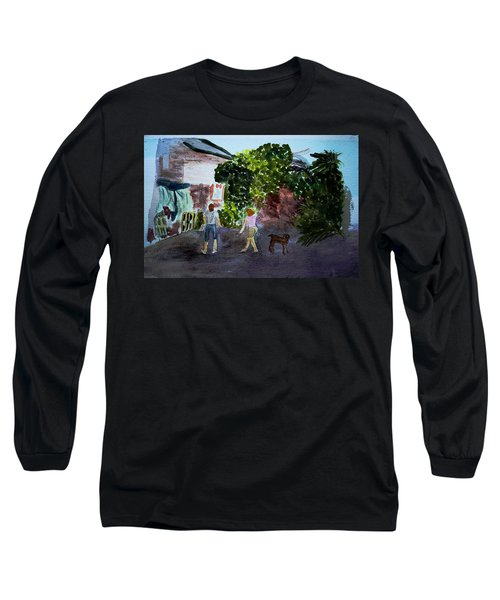 Long Sleeve T-Shirt featuring the painting West End Shopping by Donna Walsh