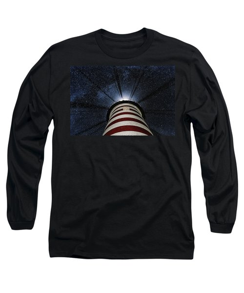 West Quoddy Head Lighthouse Night Light Long Sleeve T-Shirt
