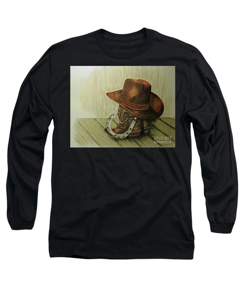 Long Sleeve T-Shirt featuring the drawing Western Wares by Terri Mills