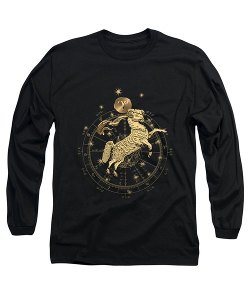 Western Zodiac - Golden Aries -the Ram On Black Canvas Long Sleeve T-Shirt
