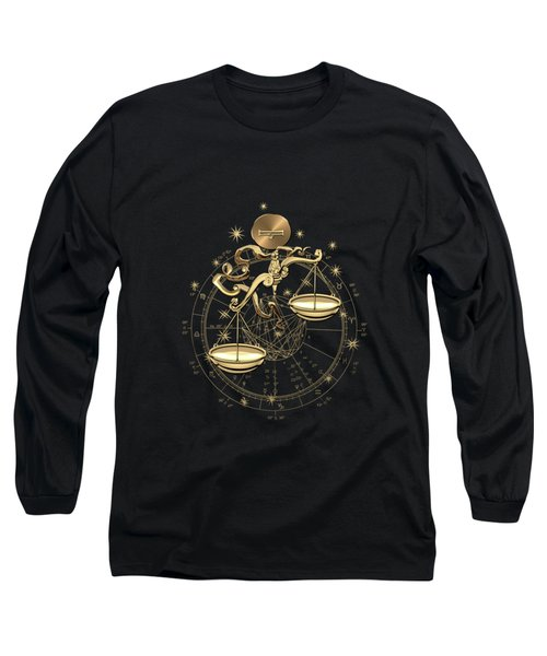 Western Zodiac - Golden Libra -the Scales On Black Canvas Long Sleeve T-Shirt