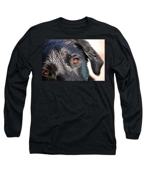 Wet Black Lab Long Sleeve T-Shirt by Vivian Krug Cotton